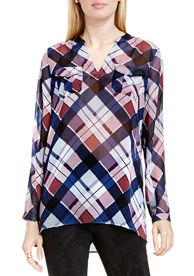 Vince Camuto Plaid Split Neck Tunic
