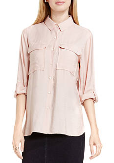 TWO by Vince Camuto Rumple Button Down Blouse