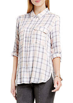 TWO by Vince Camuto Plaid Button Down Blouse