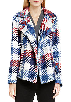 Vince Camuto Plaid Faux Fur Coat