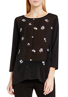 TWO by Vince Camuto Posy Petals Split-Back Top