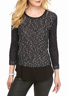 TWO by Vince Camuto Slub Knit-Woven Shirttail Top