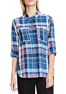 Vince Camuto Long Sleeve Plaid Shirt
