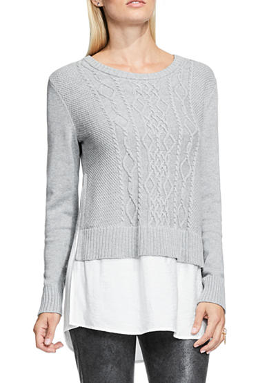 TWO by Vince Camuto Long Sleeve Cabled Pullover