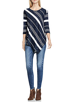 TWO by Vince Camuto Asymmetric Stripe Top