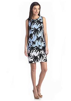 Vince Camuto Palm Print Shift Dress