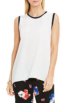Vince Camuto Sleeveless High Low Hem Blouse with Rib Trim