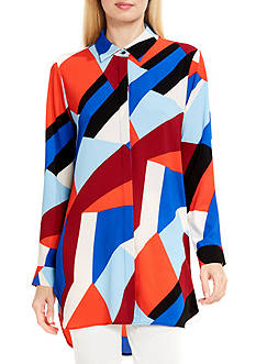 Vince Camuto Marina Blocks Button Down Tunic