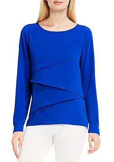 Vince Camuto Long Sleeve Asymmetrical Layered Blouse