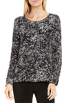 Vince Camuto Textural Reef Asymmetrical Layered Blouse