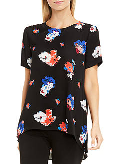 Vince Camuto Traveling Blooms High Low Hem Blouse
