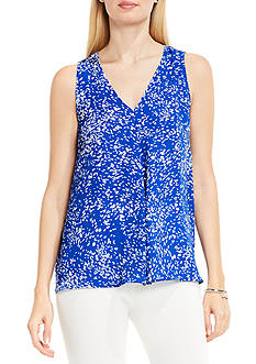 Vince Camuto Sleeveless V Neck Textural Reef Drape Front Blouse