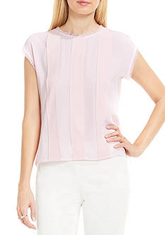 Vince Camuto Extended Shoulder Fringed Blouse with Striped Panels