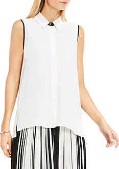 Vince Camuto Sleeveless Collared Button Down Blouse with Back Pleats