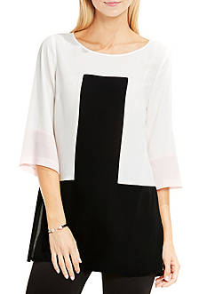 Vince Camuto Elbow Sleeve Color Blocked Blouse with Side Slits