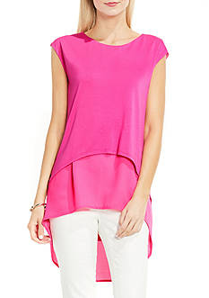 Vince Camuto Extend Shoulder High Low Mix Media Layered Blouse