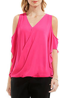 Vince Camuto Wrap Front Cold-Shoulder Ruffle Sleeve Blouse