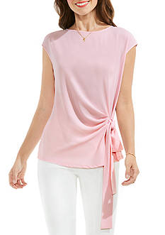 Vince Camuto Sleeveless Mix Media Tie Drape Front Blouse