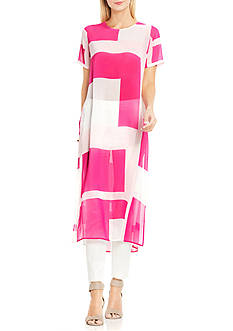 Vince Camuto Short Sleeve Abstract Grid Long Tunic with Side Slits