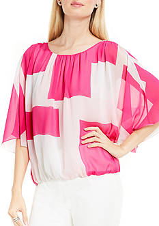 Vince Camuto Abstract Grid Batwing Blouse with Elastic Waist Band