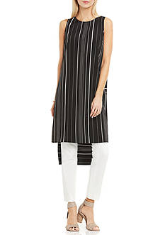 Vince Camuto Sleeveless Pencil Stripe Tunic with Side Slits
