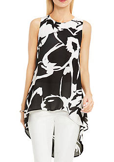 Vince Camuto Sleeveless Cutout Floral Colorblocked Blouse