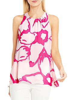 Vince Camuto Sleeveless Modern Cutout Floral Printed Woven Top