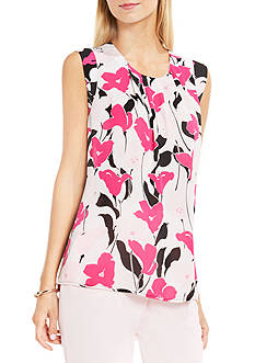 Vince Camuto Sleeveless Front Pleat Flower Wave Blouse