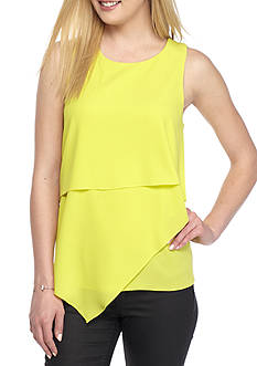 Vince Camuto Sleeveless Asymmetrical Layered Woven Top