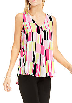 Vince Camuto Sleeveless Charming Graphic Print Drape Front Blouse