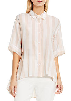 Vince Camuto Short Sleeve Oversized Button Down Shirt