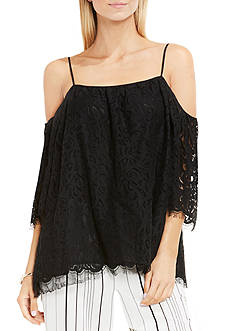 Vince Camuto Elbow Sleeve Cold-Shoulder Geo Lace Blouse