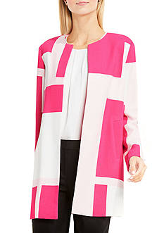 Vince Camuto Open Front Abstract Grid Printed Coat with Front Welt Pockets