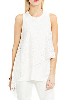 Vince Camuto Sleeveless Asymmetrical Lace Overlay Top
