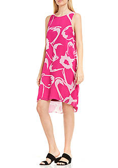Vince Camuto Sleeveless Cutout Floral Chiffon Overlay Dress