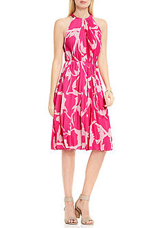Vince Camuto Cutout Floral Pleated Belted Halter Dress