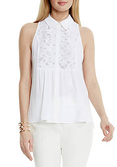 Vince Camuto Lace Yoke Collared Blouse