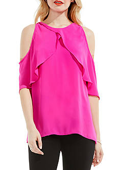 Vince Camuto Crossover Ruffled Cold Shoulder Blouse
