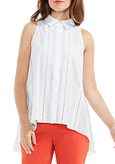 Vince Camuto Sleeveless Button Down Eyelet Blouse