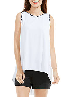 Vince Camuto Embroidered Neck High Low Hemmed Top