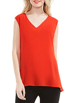 Vince Camuto V-Neck Mixed Media Textured Top