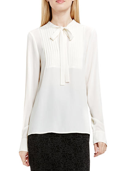 Vince Camuto Tie Neck Pleated Tuxedo Blouse