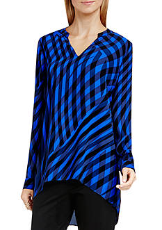 Vince Camuto Long Sleeve Swept Check Blouse