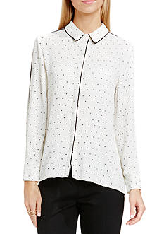 Vince Camuto Pin Dot Button Front Blouse