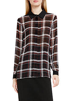 Vince Camuto Plaid Collared Button Front Blouse