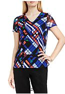 Vince Camuto Graphic Print High Low Shirttail