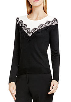 Vince Camuto V-Lace Sweater