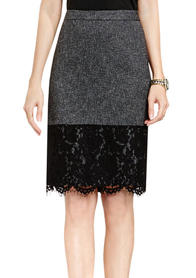 Vince Camuto Tweed Lace Hem Pencil Skirt