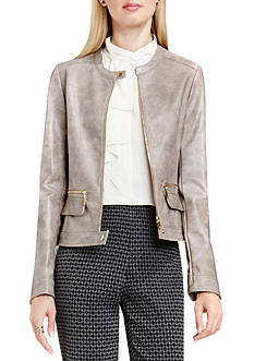 Vince Camuto Distressed Pleather Moto Jacket