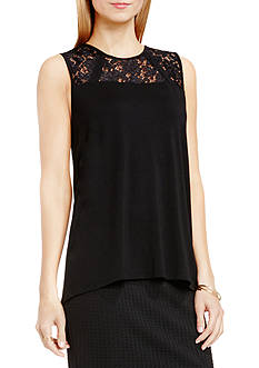 Vince Camuto Floral Lace Yoke Tank